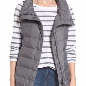 EILEEN FISHER Stand Collar Vest Gray Small NWT